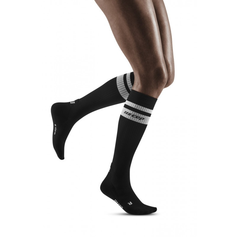 CEP 80's compression socks, black/white, women
